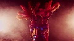 Clowns Girls. Carnival. Halloween.Circus Stock Footage