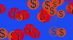 4k Float USA dollars China RMB money wealth symbol,exchange rate background. Stock Footage