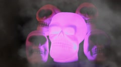 Spooky Burning Skulls Stock Footage