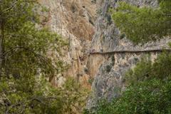 El Caminito del Rey with tourists, long shot Stock Photos