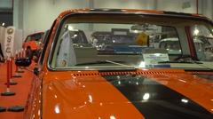 Close-up view of a classic vintage car in exhibition fair Stock Footage