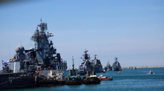 Fleet of the Russian army, a smooth review. Sevastopol. Crimea. Stock Footage