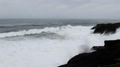 Waves Crashing On Black Lava Rock Shore Depoe Bay Oregon Sped Up Stock Footage