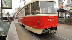 Red Tram departing in Kiev, Ukraine Stock Footage