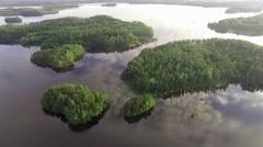 Beautiful islands at calm lake Puruvesi, Saimaa, Finland Stock Footage