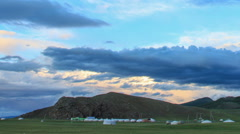 Sunset over the valley of the Ulaan river, Mongolia. Full HD Stock Footage