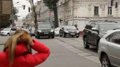 Traffic on street in Kiev, Ukraine Stock Footage