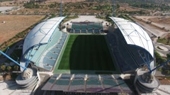 Aerial shot of details of architecture empty stadium Algarve Stock Footage