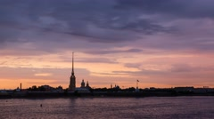 Beautiful evening clouds over Peter and Paul Fortress in Saint Petersburg Stock Footage