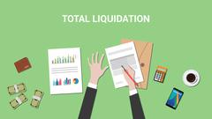 Total liquidation concept illustration with business man working on a paper work Stock Illustration