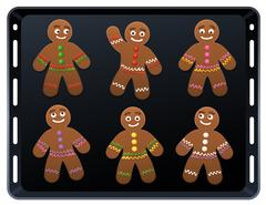 Gingerbread Man Baking Plate Stock Illustration