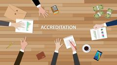 Accreditation concept illustration with team people work together  paperwork Stock Illustration