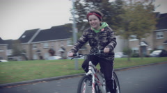 4k Sport Outdoor Child with Bicycle Riding Happy Stock Footage