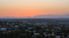 Sun rise over the Shymkent city in Kazakhstan Stock Footage