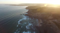 Video seascape, from the air. Costa Vicentina, Alentego Portugal Stock Footage