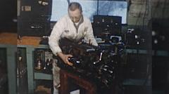Machinist ENGINE REBUILD Machine Auto Repair 1960s Vintage Film Home Movie 10342 Stock Footage