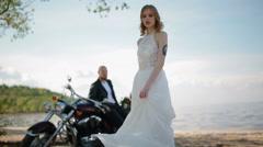 Modern stylish biker wedding Stock Footage