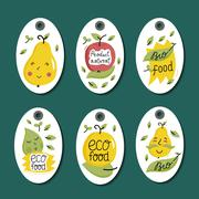 Organic, eco and bio food labels set. Stock Illustration