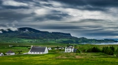 Stormy clouds over the Staffin town , Skye Island, Scotland, 4k, Timelapse Stock Footage
