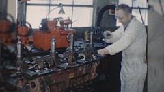 Machinist Grinding Camshaft ENGINE REBUILD 1960s Vintage Film Home Movie 10340 Stock Footage