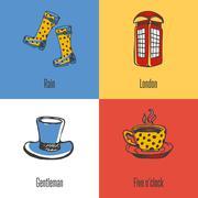 British National Symbols Vector Icons Set Stock Illustration