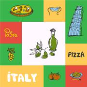 Italy Squared Doodle Vector Concept Stock Illustration
