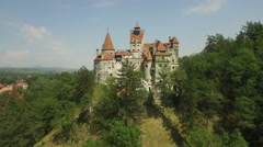 Aerial view of Bran Castle, known as Dracula castle Stock Footage