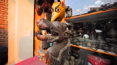 Scary masks in souvenirs shop in Thamel, a neighborhood in Kathmandu, Nepal Stock Footage