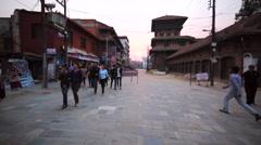 Walking along the road leading to the Durbar square. Kathmandu, Nepal Stock Footage