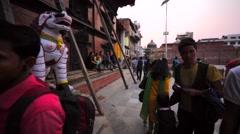 Statue of ancient deity on Durbar square near Kumari Goddess Temple. Kathmandu Stock Footage