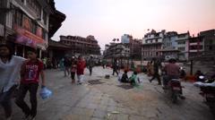 Walking at Durbar Square in Kathmandu, Nepal. Buildings, destroyed by earthquke Stock Footage