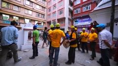 People at street celebrate New year. View of street performers. Kathmandu Stock Footage