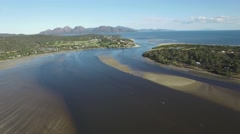 Forward flight over Swanwick Bay towards Coles bay and Freycinet National Park Stock Footage