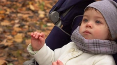 Cute little girl sitting in stroller and chewing in autumn park. Happy child Stock Footage