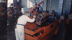 Machinist ENGINE REBUILD Machine Auto Repair 1960s Vintage Film Home Movie 10335 Stock Footage
