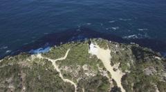 Orbit round flight around Cape Tourville Lighthouse, Freycinet National Park, Stock Footage