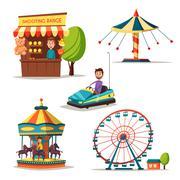 Amusement park theme. Cartoon vector illustration Piirros