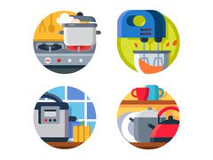Kitchenware icon stove and kettle Stock Illustration