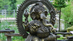 A Mythological Ganesha Buddha elephant  statue at the famous Prague zoo Stock Footage