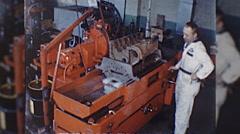 Machinist ENGINE REBUILD Machine Auto Repair 1960s Vintage Film Home Movie 10334 Stock Footage