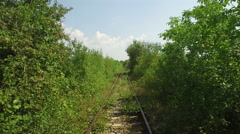 Aerial view over railway covered with a vegetation tunnel Stock Footage