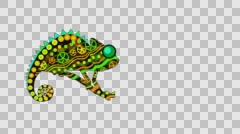Decorative animation chameleon, chameleon from patterns, alpha channel Stock Footage