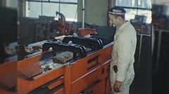 Machinist ENGINE REBUILD Machine Shop MAN 1960s Vintage Film Home Movie 10333 Stock Footage