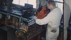 Machinist ENGINE REBUILD Machine Auto Repair 1960s Vintage Film Home Movie 10332 Stock Footage