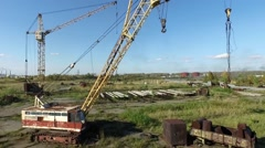 Industrial cranes in the industrial zone Stock Footage