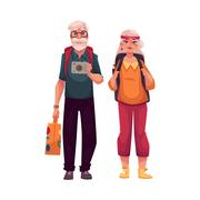Senior, old couple travelling with backpacks, suitcase and camera Stock Illustration