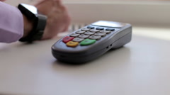 Man is Paying with a Smart Watch Stock Footage