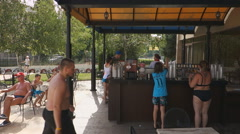 Editorial:  Hotel Sol Nessebar l guests came to dinne Stock Footage