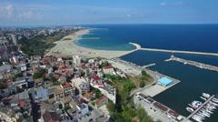 Flight over Constanta coastline, Romania Stock Footage