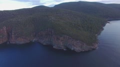 Sweeping round pan above water revealing Fortescue Bay at Tasman National Park Stock Footage